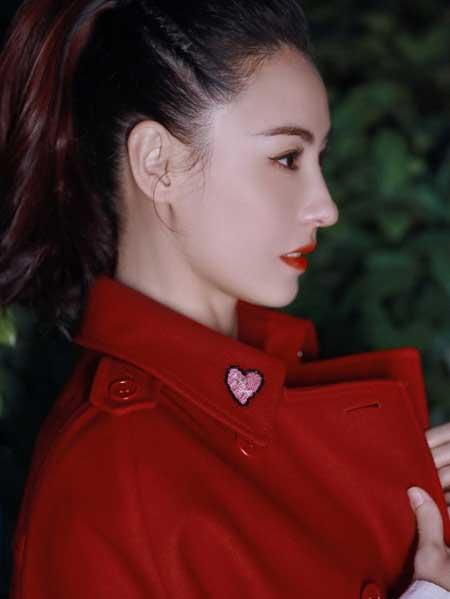 张柏芝新春写真曝光 红色大衣优雅喜庆贺新年
